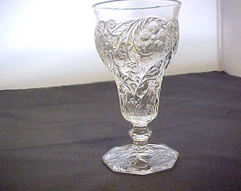 Vintage Rock Crystal Low Water Goblet by McKee Glass, Antique Stemware With Embossed Floral Design, Vintage Collectible Footed Glass Tumbler