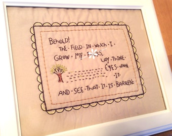 Framed Behold the Field Embroidery