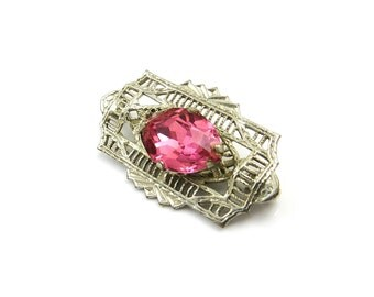 Art Deco Brooch, Silver Filigree Pin, Pink Glass Brooch, Art Deco Jewelry, Vintage 1930s Jewelry