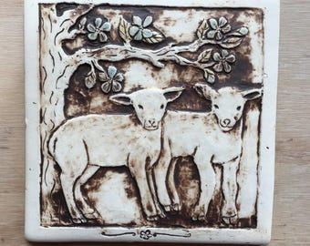 Handmade lamb tile for installation or wall hanging 6 inch