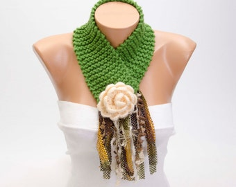 CLEARANCE SALE -Knit neckwarmer,knit  collar scarf ,green ,flowered