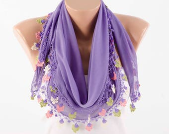 Turkish oya scarf , turkish yemeni , summer scarf with hand crocheted lace circles and tassel ,deep lilacs