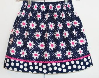 Navy and Hot Pink Daisy Skirt size 7