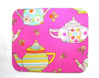 Mouse Pad - Tea pots Fabric - Pink blue and yellow