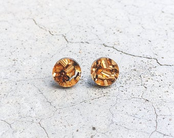 Disco - Bronze laser cut round circle glitter acrylic stud post earrings