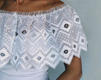 Bridal Lace Top Cape Ruffled Shrug White Eyelet Wedding Bolero Scalloped Capelet Shoulder Wrap Cover Bridesmaid Romantic Shabby Chic Wedding