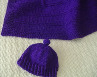 Baby Blanket*, Baby Hat,, Baby Blanket with Matching Hat - Funky Purple Baby Blanket and PomPom Hat
