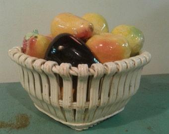 Vintage ceramic decorative fruit platter, made in Spain  fruit pattern, home decor, kitchen decor, retro fruit platter