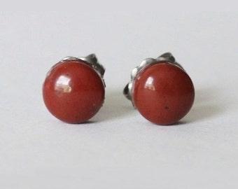 8mm Natural Red Jasper Studs, hypoallergenic Titanium earring, Brown red gemstone post studs, for sensitive ears
