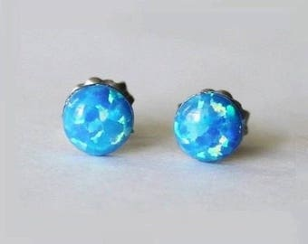 4mm, 5mm, 6mm Bright blue opal studs earrings, Ocean blue Opal Studs, hypoallergenic Titanium earrings, Blue post studs, for sensitive ears