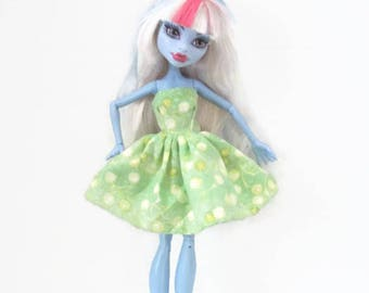 Summer Dress for Monster High Doll Green Yellow White Print