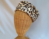 Vintage Ladies Hat Faux Leopard Fur Pillbox