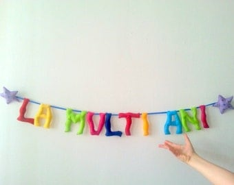 Birthday Banner, Party Felt Garland, Party Decoration, 1st Birthday, Happy Birthday Party Supplies, Rainbow Party Banner, Felt Letters