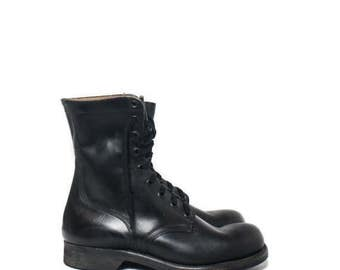 SALE 10 R | 1960's Combat Boots Black Military Army Boots New Old Stock