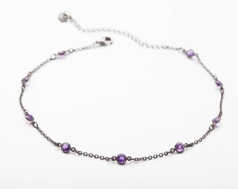 SHE'S A VISION CHOKER • Amethyst Necklace
