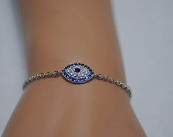 Evil Eye, Silver CZ pave evil eye bracelet, adjustable bracelet, Gift for her, Good Luck charm, Cubic Zirconia Evil Eye