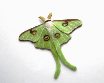 Needle Felted, brooch, Luna Moth, For her, Gifts for best friends, Mother's Day, mom,Grandma Gift,Anniversary Gift, Gifts for Mom