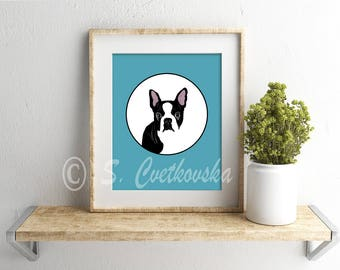 Boston Terrier, Boston Terrier print, art print, digital art