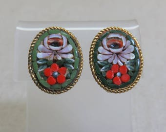 Green, Red and Pink Flower Mosaic Clip On Earrings, Vintage Mosaic Earrings