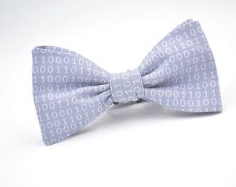 Mens Freestyle Bowtie, Binary Code, Self Tie Bow Tie, Gray Bow Tie, Geek Bow Tie, Adjustable Bow tie, Handmade Bow Tie