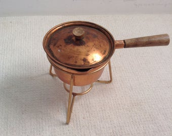 Mini Copper Chafing Dish, sauce pan.  Vintage 1950.  Tin lined.  Made in Japan.  Mid century modern, Kitsch, Eames era.