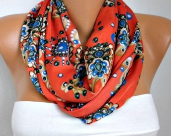 Floral Printed Infinity Scarf Fall Scarf Cowl Scarf Shawl Circle Scarf Loop Scarf  Gift Ideas For Her Women Fashion Accessories