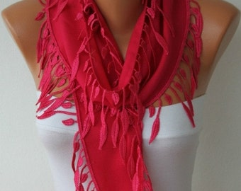 ON SALE --- Hot Pink leaves Pashmina Scarf  Teacher, Birthday Gift Easter Cowl Scarf Gift Ideas For Her Women Fashion Accessories Mothe