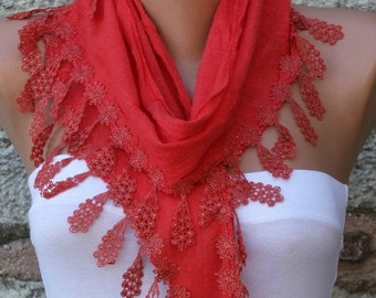 ON SALE --- Red Cotton Scarf, Summer Fashion, Cowl Scarf, Bridesmaid Gift Bridal Accessories Gift Ideas For Her, Women Fashion Accessories W