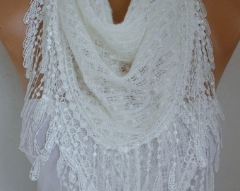 ON SALE --- White Knitted Lace Scarf Shawl Cowl Oversized Bridesmaid Gift  Bridal Accessories Gift Ideas For Her Women Fashion Accessories X