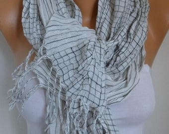 ON SALE --- Plaid Linen Scarf, Spring Fashion Scarf, Shawl, Oversized Wrap, Bridesmaid Gift, Gift Ideas For Her, Women Fashion Accessories