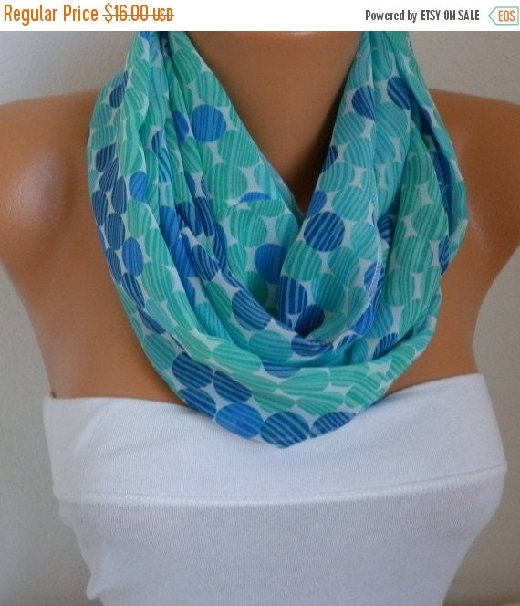 ON SALE --- Blue Polka Dot Infinity Scarf Teacher Gift Chiffon Circle Scarf Loop Scarf  Gift Ideas For Her Women Fashion Accessories