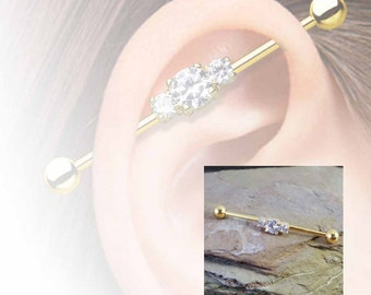 Gold Industrial Barbell 16g or 14g Triple Crystal Industrail Piercing