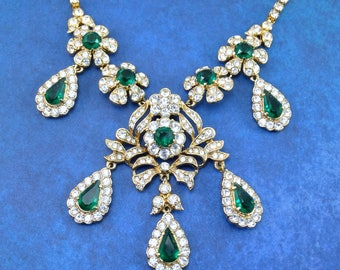 Vintage Attwood and Sawyer Royal Jewels Emerald and Clear Rhinestone Drop Dangle Bib Necklace A&S