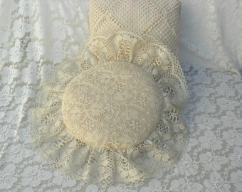 2 Handmade Decorative Pillows, ivory and lace, vintage
