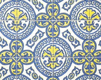 Reserved for dowojo Retro Wallpaper by the Yard 70s Vintage Wallpaepr - 1970s Yellow Blue and White Geometric Medallion Faux Tiles