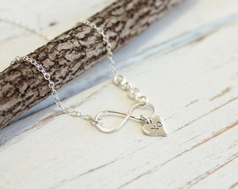 Sterling Silver Infinity and XO Heart Necklace