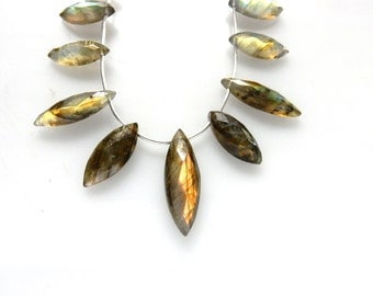 Labradorite Marquise Beads 8 ''  AA Quality  Size 7x16MM To 10x31MM Approx 11 Beads Wholesale Price