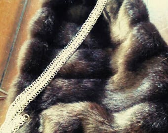 Fake fur backpack with Chainmaile strap