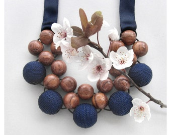 Wooden Statement Necklace / Wood & Blue Fabric Beads with Ribbon Ties / Wooden Bead Necklace / Wooden Necklace / Chunky Bib Necklace /