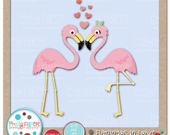 Flamingos in Love Cutting Files & Clip Art - Instant Download