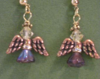 """Swarvoski Angel Earrings...1 1/4"""" studs..Amthyst with copper wings"""