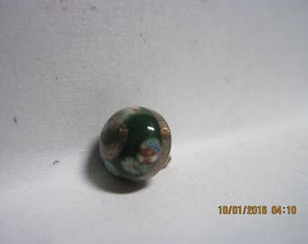 VINTAGE Kelley Green Glass Ball Button w/ Pinwheels & Goldstone Swirl Overlays....#661