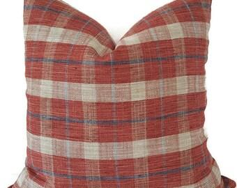 Plaid Pillow - Pinkish Red Pillow - Plaid Shams - Red Pillows - Red Plaid Pillow - Plaid Toss Pillow - Plaid Couch Pillow - Plaid Lumbar