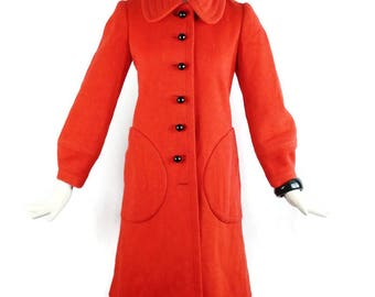 PIERRE CARDIN PARIS Creation Red Mod Iconic Big Pockets Space Age Red Vintage  Wool Coat Size Small