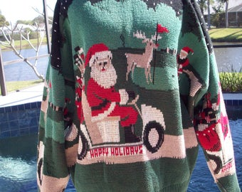 Santa is coming to the Golf Course, Ugly Christmas Sweater, XL by Crossings
