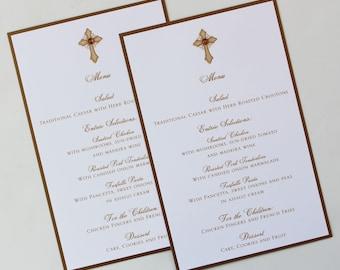Gold Vintage Cross Baptism-Communion Menu