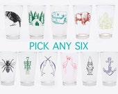 Beer Glasses - Choose Any 6 - Mix and Match Pint Glasses - Set of Six - Gift for Him - Cactus - Buffalo - Camper Trailer - Camping - Crow -