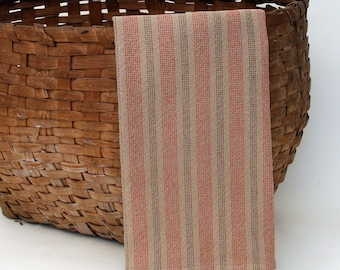 Handwoven Cotton Dishtowel in Tan Plain Weave with Red and Brown Dotted Stripes
