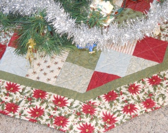 Poinsettia Quilted Tree Skirt - Patchwork Christmas Decoration