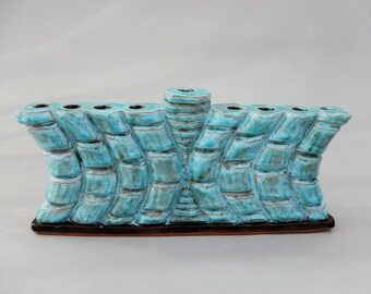 Menorah - Unique Hanukkah Turquoise Candle Holder - Ceramic Hanukiah - Modern Judaic Gift